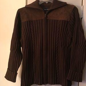 Denim & Co brown suede trimmed zip front sweater.